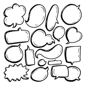 Coleção de discurso de bolha com linha preta e fundo branco