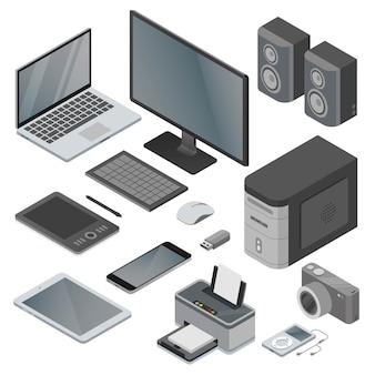 Coleção de dispositivos eletrônicos e gadgets de objetos