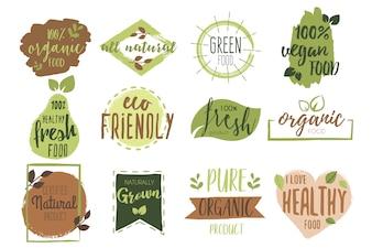 Coleção de distintivo de alimentos orgânicos