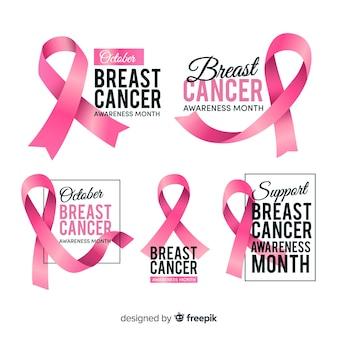 Coleção de distintivo de conscientização de câncer de mama realista