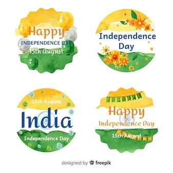 Coleção de distintivo de dia da independência de aquarela índia