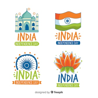 Coleção de distintivo de dia da independência de índia