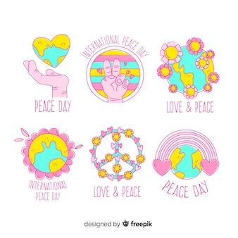 Coleção de distintivo de dia da paz desenhada de mão