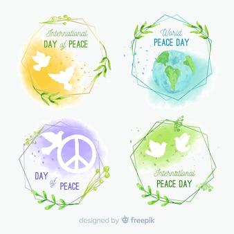 Coleção de distintivo de dia da paz em aquarela
