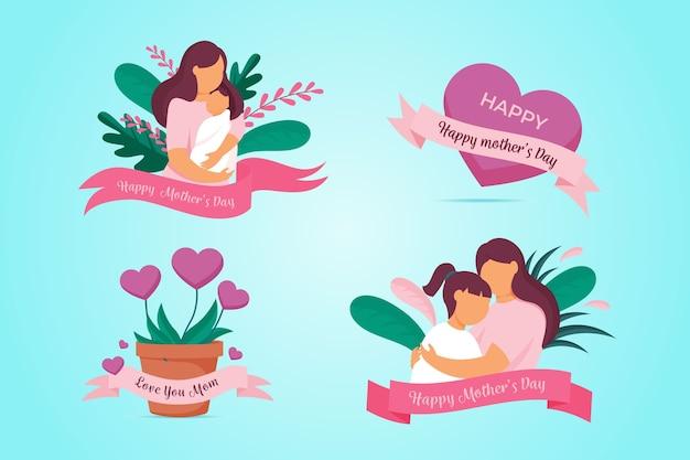 Coleção de distintivo de dia das mães de design plano