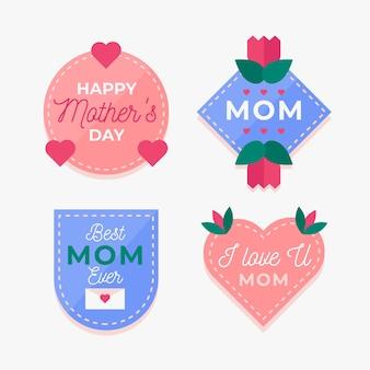 Coleção de distintivo de dia das mães em design plano