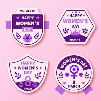 Coleção de distintivo de dia das mulheres de design plano