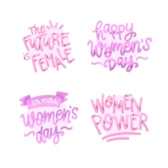 Coleção de distintivo de dia das mulheres de letras