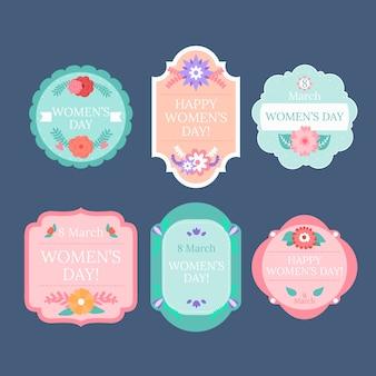 Coleção de distintivo de dia das mulheres em design plano