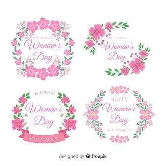 Coleção de distintivo de dia das mulheres grinalda floral