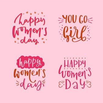 Coleção de distintivo de dia das mulheres letras