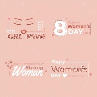 Coleção de distintivo de dia das mulheres plana