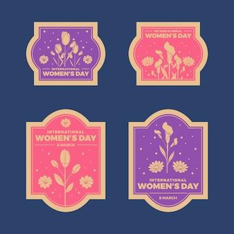 Coleção de distintivo de dia das mulheres vintage