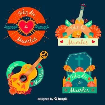 Coleção de distintivo de dia de muertos de design plano