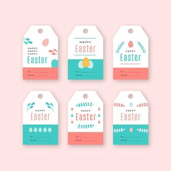 Coleção de distintivo de dia de páscoa em design plano