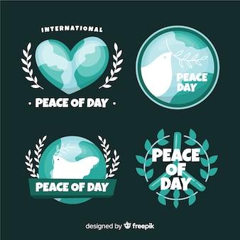 Coleção de distintivo de dia de paz de design plano