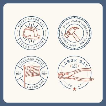 Coleção de distintivo de dia do trabalho eua design plano