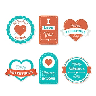 Coleção de distintivo de dia dos namorados de design plano