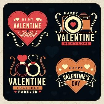 Coleção de distintivo de dia dos namorados vintage