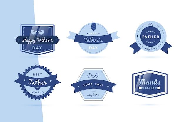 Coleção de distintivo de dia dos pais de design plano