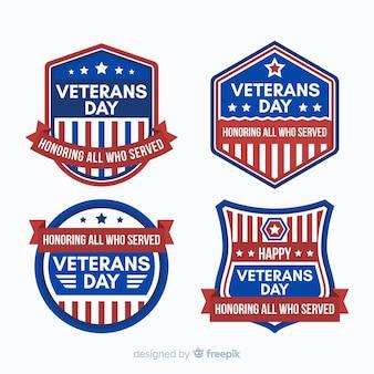 Coleção de distintivo de dia dos veteranos conosco elementos de bandeira