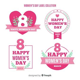 Coleção de distintivo de dia plana das mulheres