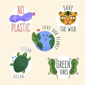 Coleção de distintivo de ecologia desenhados à mão