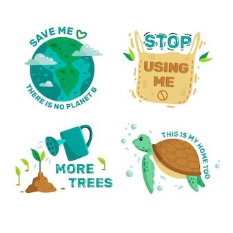 Coleção de distintivo de ecologia ilustrada