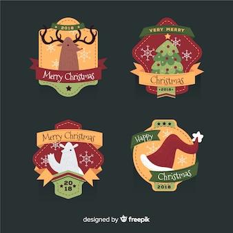 Coleção de distintivo de elementos de natal