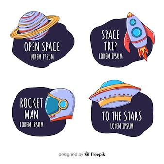 Coleção de distintivo de espaço colorido mão desenhada