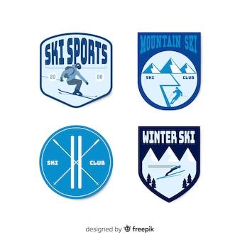 Coleção de distintivo de esqui e neve vintage