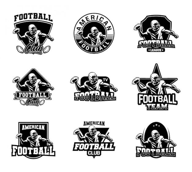 Coleção de distintivo de futebol americano em preto e branco