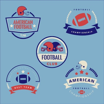 Coleção de distintivo de futebol americano retrô