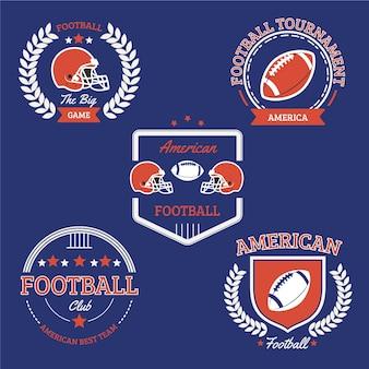 Coleção de distintivo de futebol americano vintage