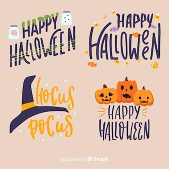 Coleção de distintivo de halloween com letras em design plano