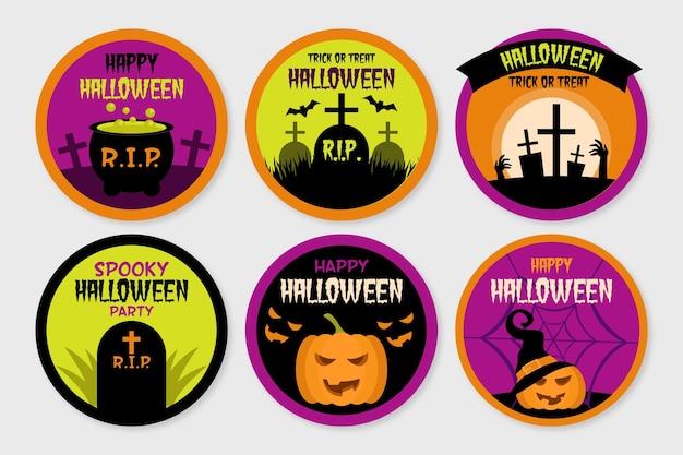 Coleção de distintivo de halloween de design plano