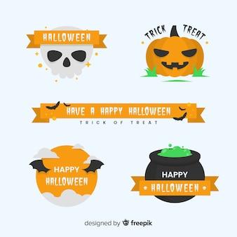 Coleção de distintivo de halloween de design vintage