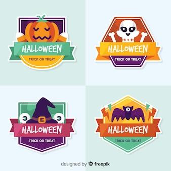 Coleção de distintivo de halloween design plano
