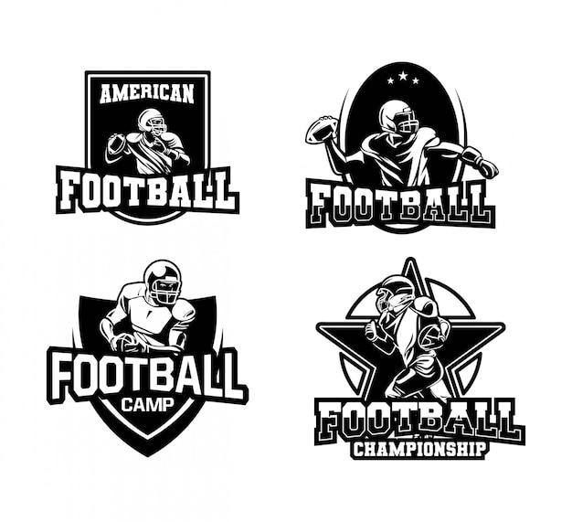 Coleção de distintivo de liga de futebol americano preto e branco