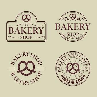 Coleção de distintivo de logotipo de padaria vintage
