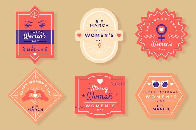Coleção de distintivo de mão desenhada dia das mulheres