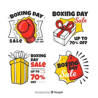 Coleção de distintivo de mão desenhada dia de boxe