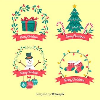 Coleção de distintivo de natal em design plano