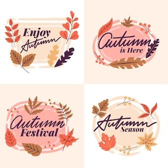 Coleção de distintivo de outono de design plano