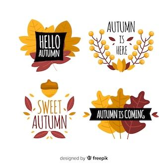 Coleção de distintivo de outono desenhada de mão