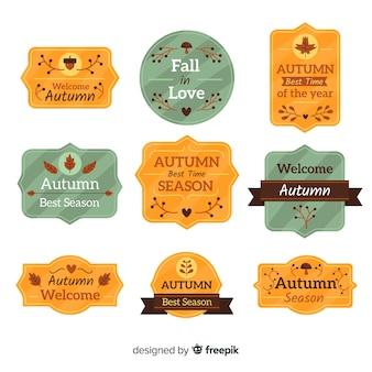 Coleção de distintivo de outono design plano