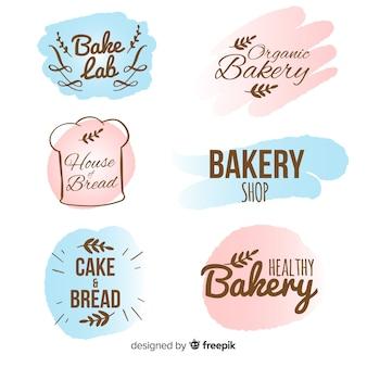 Coleção de distintivo de padaria desenhada de mão