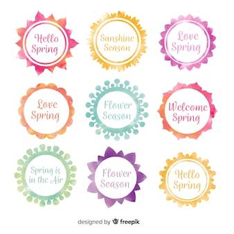 Coleção de distintivo de primavera aquarela