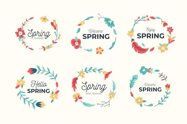 Coleção de distintivo de primavera desenhada de mão