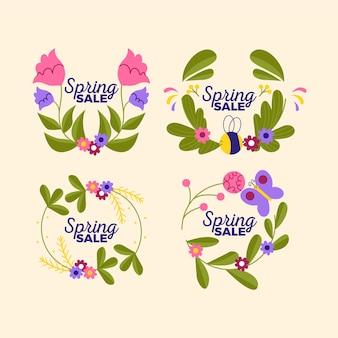Coleção de distintivo de primavera desenhados à mão